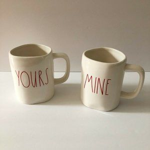 Rae Dunn YOURS MINE Red Letter Coffee Mugs